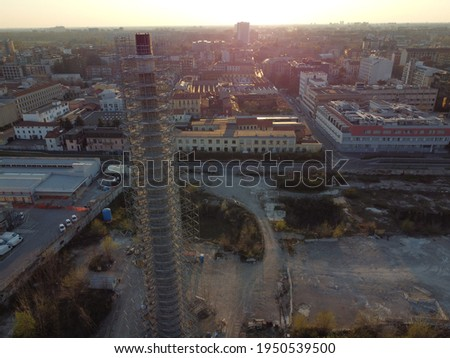 Aerial view of abandoned outdoor industrial heating pipeline Stock photo © stevanovicigor