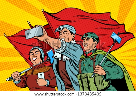 Chinese workers with smartphones selfie, poster socialist realis Stock photo © studiostoks