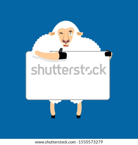 Sheep holding banner blank. Ewe and white blank. Farm animal thu Stock photo © popaukropa