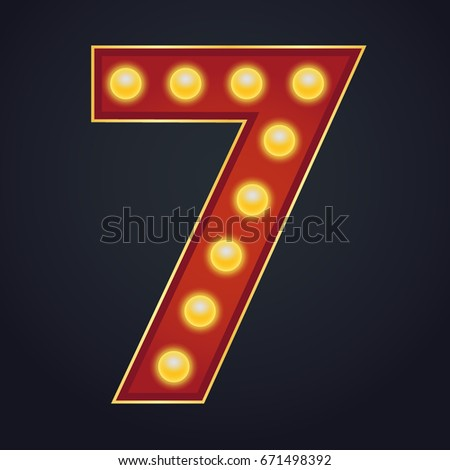 7 number vector seven font marquee light sign realistic retro shine lamp bulb 3d electric glowing stock photo © pikepicture
