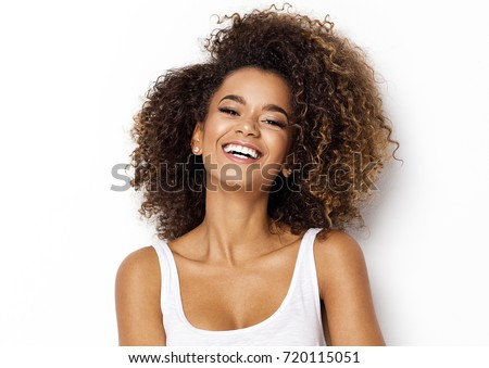 Beautiful African American woman with natural curly hair flat ca Stock photo © NikoDzhi