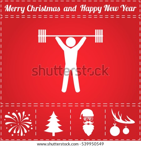 Strong Santa Claus deadlift with barbell. Christmas fitness. Pow Stock photo © MaryValery