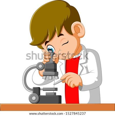 Erkek mikroskop bilim büro sınıf gençlik Stok fotoğraf © IS2