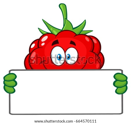 Souriant framboise fruits mascotte dessinée personnage Photo stock © hittoon