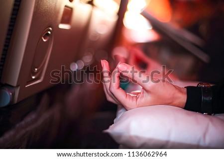 Személy repülőgép ijedt repülés jóga félő Stock fotó © dashapetrenko