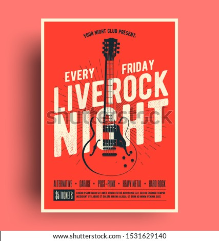 Live music flyer design with acoustic guitar on grunge background. Vector illustration template for  Stock photo © articular