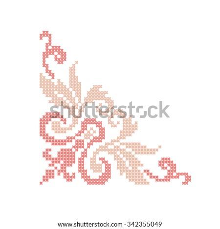Retro cross stitch vector monogram design vector templates, Vintage elegant alphabet, embroidery le Stock photo © RedKoala