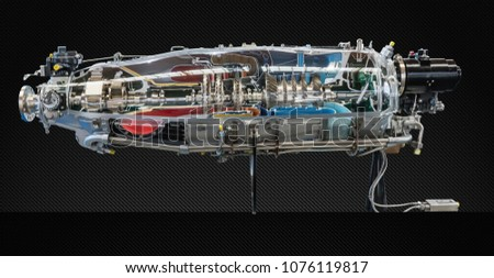 Jet Engine Turbine horizontal background. Detailed Airplane Motor Front View. Vector illustration Stock photo © Iaroslava