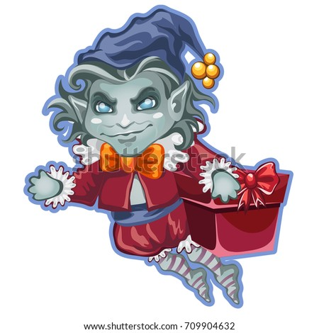 Flying demon with a festive box packed with gifts isolated on white background. Sketch for the poste Stock photo © Lady-Luck