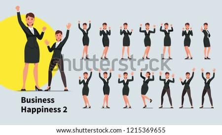 Sorridente empresário vencedor as mãos levantadas punho Foto stock © ia_64