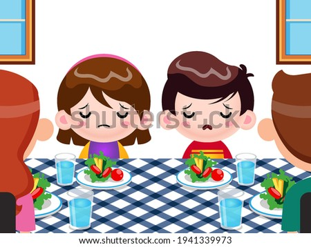 Sad Child At The Table With Food Refuses To Eat Vector. Isolated Illustration Stock photo © pikepicture