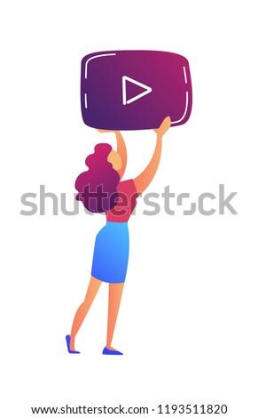 Női videó blogger tart játékos ikon Stock fotó © RAStudio