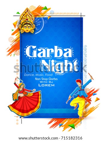 couple playing dandiya in disco garba night poster for navratri dussehra festival of india stock photo © vectomart