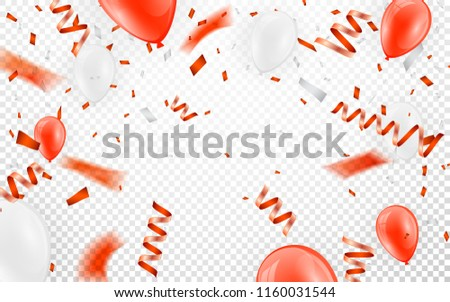 Happy birthday vector Celebration party banner Red foil confetti and white and glitter red balloons Stock photo © olehsvetiukha