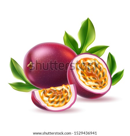 Tropical fresh background with exotic Passion fruit in a droplets of water and green pineapple leave Stock photo © artjazz