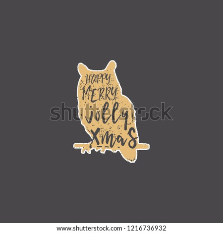 Vintage hand drawn owl with Christmas lettering inside. Silhouette wild animal design. Jolly Xmas wi Stock photo © JeksonGraphics