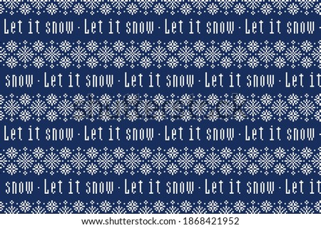 Let it snow lettering quotes pattern. Christmas seamless background. Holiday calligraphy wallpaper d Stock photo © JeksonGraphics