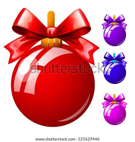 Szett tarka karácsony golyók izolált fehér Stock fotó © Lady-Luck