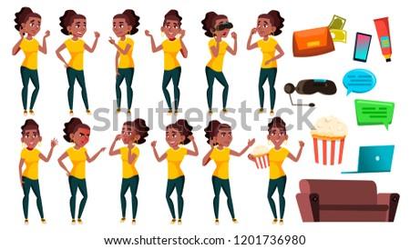 Teen girl Vektor Teenager schwarz afro Stock foto © pikepicture