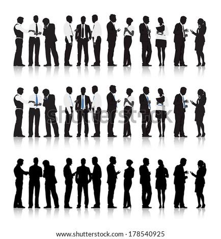 Foto stock: Pessoas · de · negócios · conjunto · vetor · reunião · falante