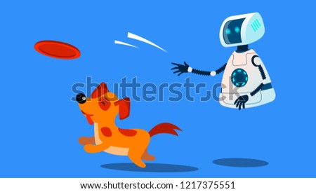 Stock photo: Robot Dogwalker Playing With A Dog Vector. Isolated Illustration