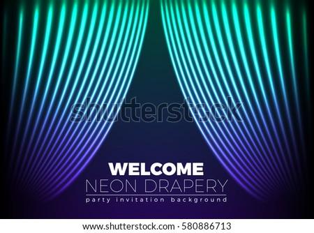 Drapery futuristic background with 80s style neon lines. Welcomi Stock photo © SwillSkill