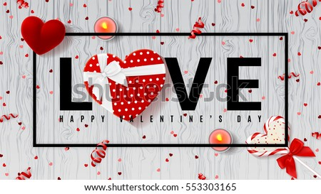 web banner for valentines day top view on composition with chocolate heart gift box confetti and stock photo © ikopylov