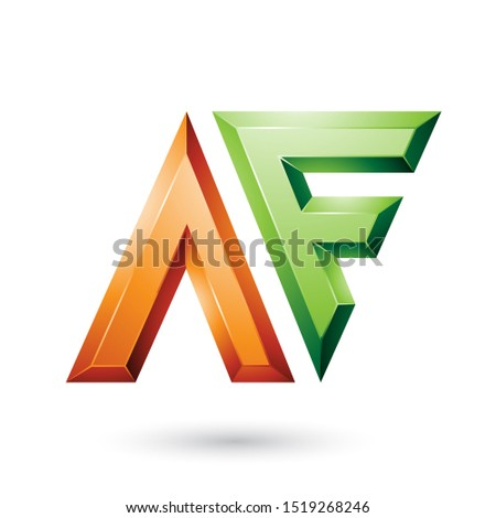 Orange and Green Glossy Dual Letters of Letters A and F Vector I Stock photo © cidepix