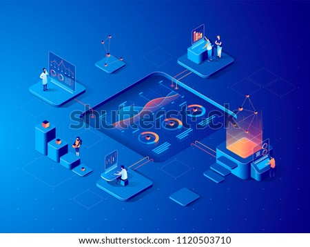 digital technology   modern vector colorful isometric illustration stock photo © decorwithme