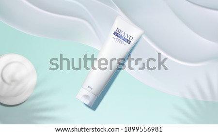 Cosmetic Glass Banner Vector. Bottle. Face Care. Fragrance, Collagen. 3D Isolated Transparent Realis Stock photo © pikepicture