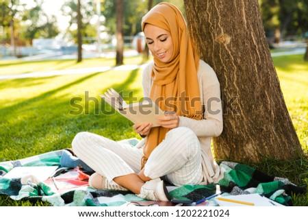 Fotó fiatal muszlim lányok visel pihen Stock fotó © deandrobot