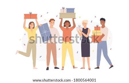 Grappig meisje aanwezig vak papier vrouwen Stockfoto © Massonforstock