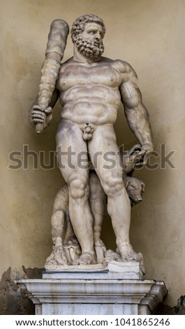 Statue of Hercules with a three headed dog at entrance of the Du Stock photo © boggy