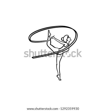 Young gymnast woman with ribbon hand drawn outline doodle icon. Stock photo © RAStudio