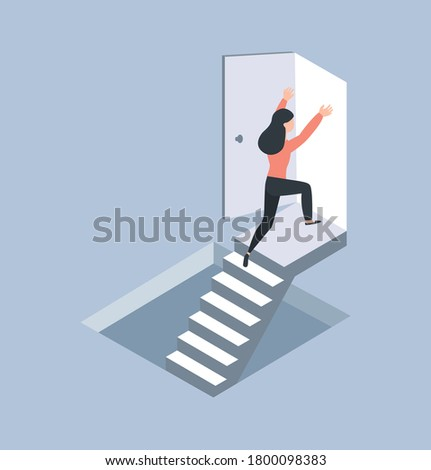 businessman running up drawn stairs with arrow vector illustration stock photo © rastudio