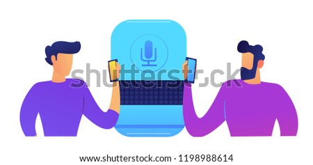 Big smart speaker and users standing and using smartphones vector illustration. Stock photo © RAStudio