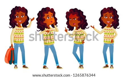Indian Girl Kid Poses Set Vector. High School Child. Teenage. For Advertisement, Greeting, Announcem Stock photo © pikepicture