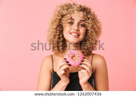 Foto mooie gekruld vrouw 20s Stockfoto © deandrobot
