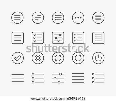 Hamburger Menu Circle Icon or button for web, Vector illustration isolated on white background. stock photo © kyryloff