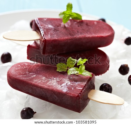 Berry black currant ice cream sorbet popsicles in color of the year 2019 Living Coral Pantone on cru Stock photo © artjazz