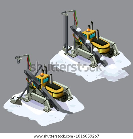 stationary snow conveyor is broken isolated on white background vector cartoon close up illustratio stock photo © lady-luck
