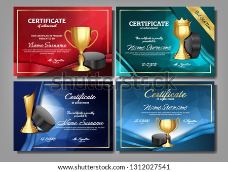 Ice Hockey Game Certificate Diploma With Golden Cup Set Vector. Sport Award Template. Achievement De Stock photo © pikepicture