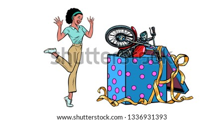 motorcycle holiday gift box. African woman funny reaction isolate on white background Stock photo © studiostoks