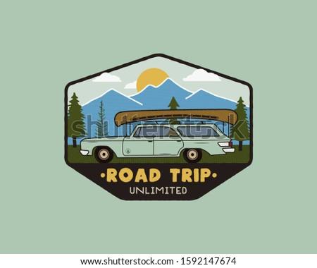 Vintage drogowego podróży logo Zdjęcia stock © JeksonGraphics