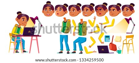 Arab, Muslim Girl Kid Vector. High School Child. Animation Creation Set. Face Emotions, Gestures. Ch Stock photo © pikepicture