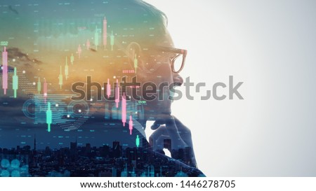 Businessman forecast the future of the stock market with a magic ball Stock photo © ra2studio