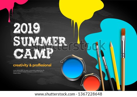 Kids summer Camp 2019, education, creativity art concept. Banner or poster with white background, ha Stock photo © ikopylov