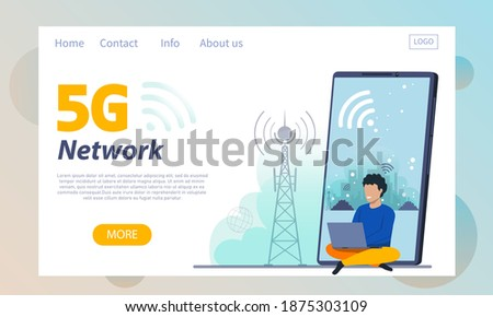 Isometric flat vector landing page template of 5G , global wireless network. Stock photo © TarikVision