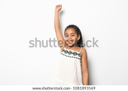 black girl perfect hand over head sign on studio white background Сток-фото © Lopolo