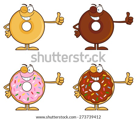 Smiling Chocolate Donut Cartoon Character With Sprinkles Holding A Stop Sign Stock photo © hittoon